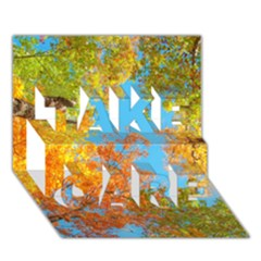 Colorful Leaves Sky TAKE CARE 3D Greeting Card (7x5) by AnjaniArt