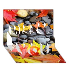 Colorful Leaves Stones Miss You 3d Greeting Card (7x5) by AnjaniArt