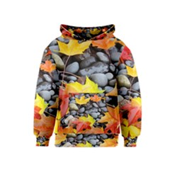 Colorful Leaves Stones Kids  Pullover Hoodie by AnjaniArt
