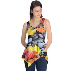 Colorful Leaves Stones Sleeveless Tunic by AnjaniArt