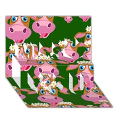 Cow Pattern Miss You 3d Greeting Card (7x5)