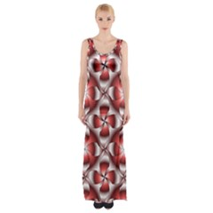Floral Optical Illusion Maxi Thigh Split Dress by AnjaniArt
