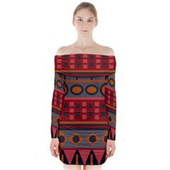 Red Aztec Long Sleeve Off Shoulder Dress