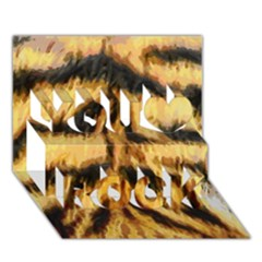 Tiger Fur Painting You Rock 3d Greeting Card (7x5) by AnjaniArt