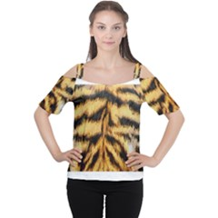 Tiger Fur Painting Women s Cutout Shoulder Tee by AnjaniArt