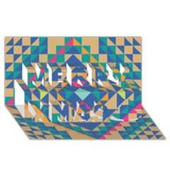 Tiling Pattern Merry Xmas 3D Greeting Card (8x4) by AnjaniArt