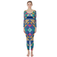 Tiling Pattern Long Sleeve Catsuit by AnjaniArt