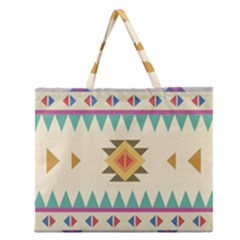 Your First Aztec Pattern Zipper Large Tote Bag by AnjaniArt