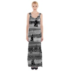 Gray Xmas Magic Maxi Thigh Split Dress by Valentinaart