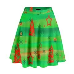 Green Xmas Magic High Waist Skirt by Valentinaart