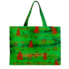 Green Xmas Magic Medium Zipper Tote Bag by Valentinaart