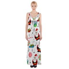 Xmas Song Maxi Thigh Split Dress by Valentinaart
