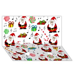 Xmas Song Twin Heart Bottom 3d Greeting Card (8x4) by Valentinaart