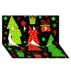 Merry Xmas Twin Hearts 3d Greeting Card (8x4) by Valentinaart