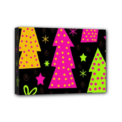 Colorful Xmas Mini Canvas 7  X 5  by Valentinaart