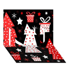 Red Playful Xmas I Love You 3d Greeting Card (7x5)