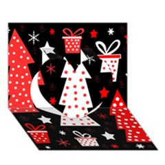 Red Playful Xmas Heart 3d Greeting Card (7x5) by Valentinaart