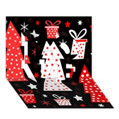 Red Playful Xmas Love 3d Greeting Card (7x5) by Valentinaart
