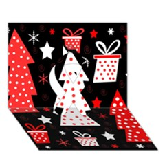 Red Playful Xmas Ribbon 3d Greeting Card (7x5) by Valentinaart