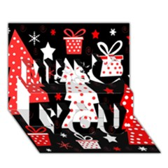 Red Playful Xmas Miss You 3d Greeting Card (7x5)