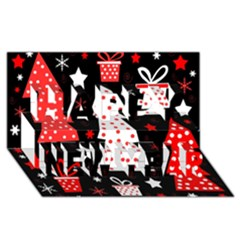 Red Playful Xmas Happy New Year 3d Greeting Card (8x4)