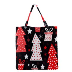 Red Playful Xmas Grocery Tote Bag by Valentinaart