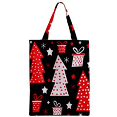Red Playful Xmas Zipper Classic Tote Bag by Valentinaart