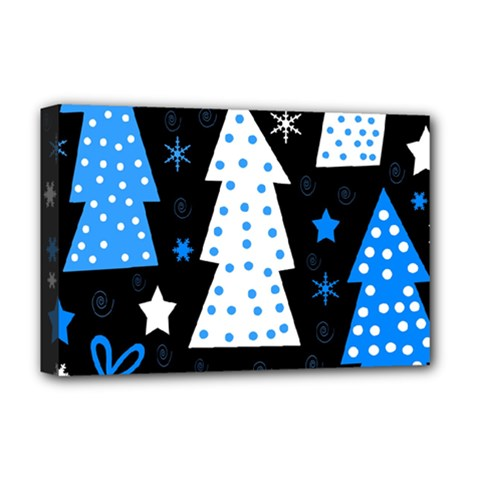 Blue Playful Xmas Deluxe Canvas 18  X 12   by Valentinaart