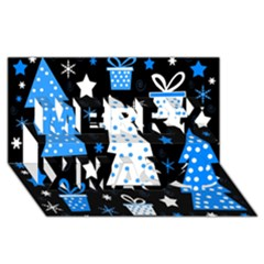 Blue Playful Xmas Merry Xmas 3d Greeting Card (8x4) by Valentinaart