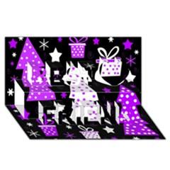 Purple Playful Xmas Best Friends 3D Greeting Card (8x4)