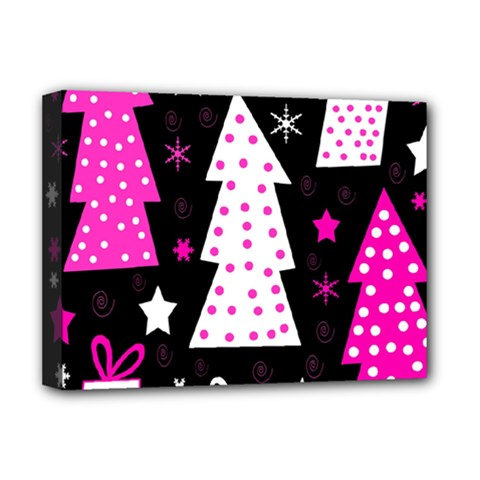 Pink Playful Xmas Deluxe Canvas 16  X 12   by Valentinaart