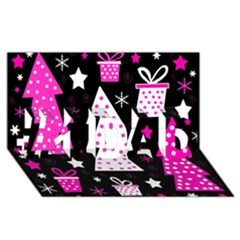 Pink Playful Xmas #1 Dad 3d Greeting Card (8x4) by Valentinaart