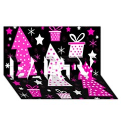 Pink Playful Xmas Party 3d Greeting Card (8x4)