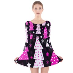 Pink playful Xmas Long Sleeve Velvet Skater Dress by Valentinaart
