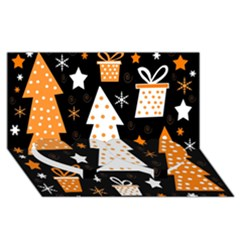 Orange Playful Xmas Twin Heart Bottom 3d Greeting Card (8x4) by Valentinaart