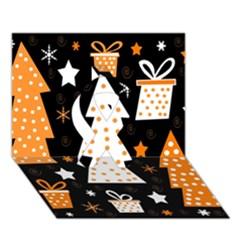 Orange Playful Xmas Ribbon 3d Greeting Card (7x5) by Valentinaart