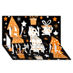 Orange Playful Xmas Happy New Year 3d Greeting Card (8x4) by Valentinaart
