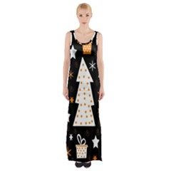 Orange Playful Xmas Maxi Thigh Split Dress by Valentinaart