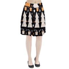 Orange playful Xmas Pleated Skirt