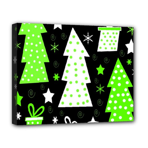 Green Playful Xmas Deluxe Canvas 20  X 16   by Valentinaart