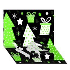 Green Playful Xmas Love Bottom 3d Greeting Card (7x5) by Valentinaart