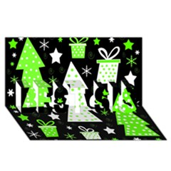Green Playful Xmas BEST SIS 3D Greeting Card (8x4) by Valentinaart