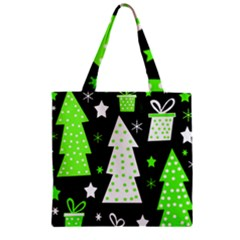Green Playful Xmas Zipper Grocery Tote Bag by Valentinaart