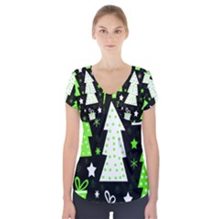 Green Playful Xmas Short Sleeve Front Detail Top