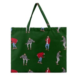 Drake Ugly Holiday Christmas 2 Zipper Large Tote Bag by Onesevenart