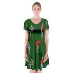 Drake Ugly Holiday Christmas 2 Short Sleeve V Neck Flare Dress by Onesevenart