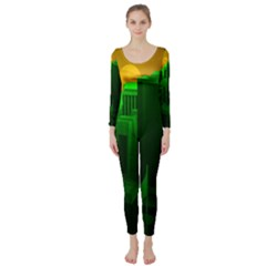 Green Building City Night Long Sleeve Catsuit by Zeze