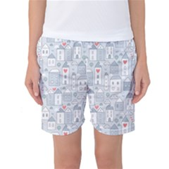 Houses Pattern Women s Basketball Shorts