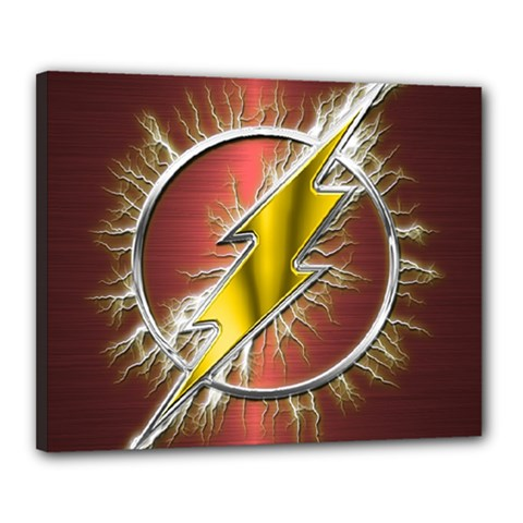 Flash Flashy Logo Canvas 20  x 16  by Onesevenart