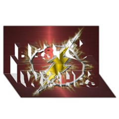 Flash Flashy Logo Best Wish 3d Greeting Card (8x4) by Onesevenart